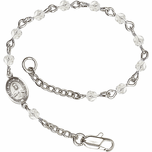 Crystal Checo Fire Polished Beads w/Pewter Sacred Heart Scapular Charm Bracelet by Bliss Mfg