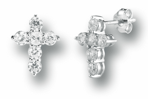 Crystal Cross Sterling Silver Earrings by HMH Religious