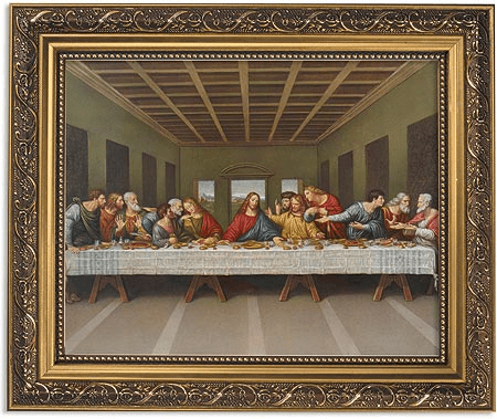 Da Vinci Last Supper Framed Print Picture with Gold Frame by Gerffert