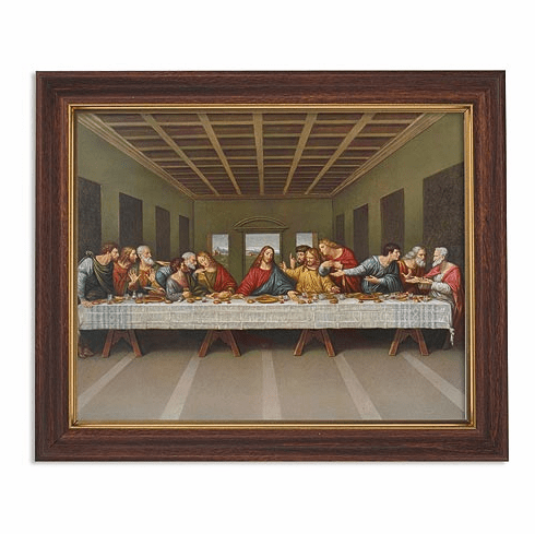 Da Vinci Last Supper Framed Print Picture with Woodtone Frame by Gerffert