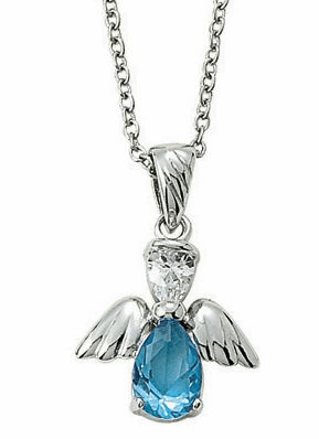 December Birthstone Angel Wing Sterling Silver Necklace