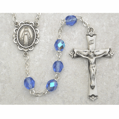 December Zircon Birthstone Crystal Sterling Silver Prayer Rosary by McVan
