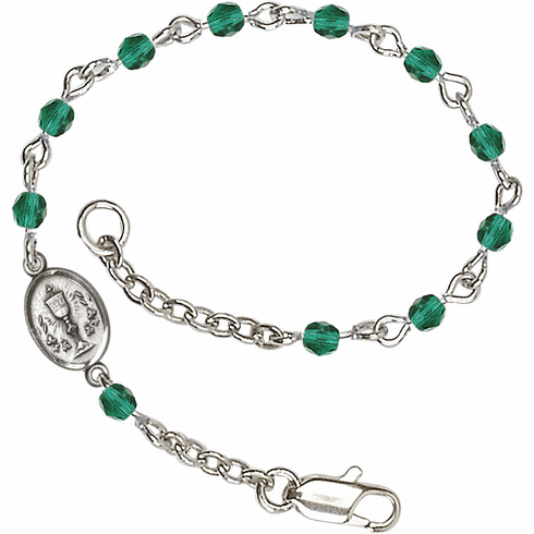 December Zircon Checo Fire Polished Beads w/Pewter Communion Chalice Charm Bracelet by Bliss Mfg