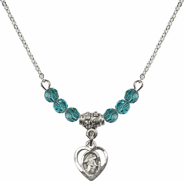 December Zircon Guardian Angel Heart Charm with 6 Crystal Bead Necklace by Bliss Mfg