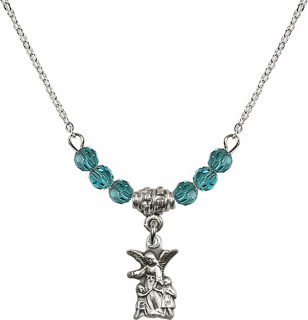 December Zircon Littlest Angel Charm with 6 Crystal Bead Necklace by Bliss Mfg