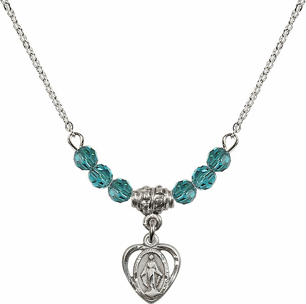 December Zircon Miraculous Heart Charm with 6 Crystal Bead Necklace by Bliss Mfg