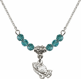 December Zircon Praying Hands Charm with 6 Crystal Bead Necklace by Bliss Mfg