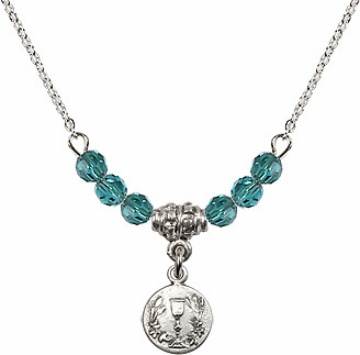 December Zircon Round Chalice Charm with 6 Crystal Bead Necklace by Bliss Mfg