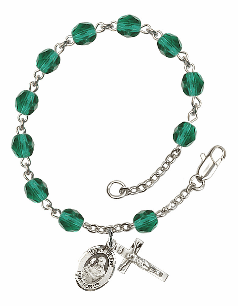 December Zircon St Clare of Assisi Birthstone Rosary Bracelet by Bliss