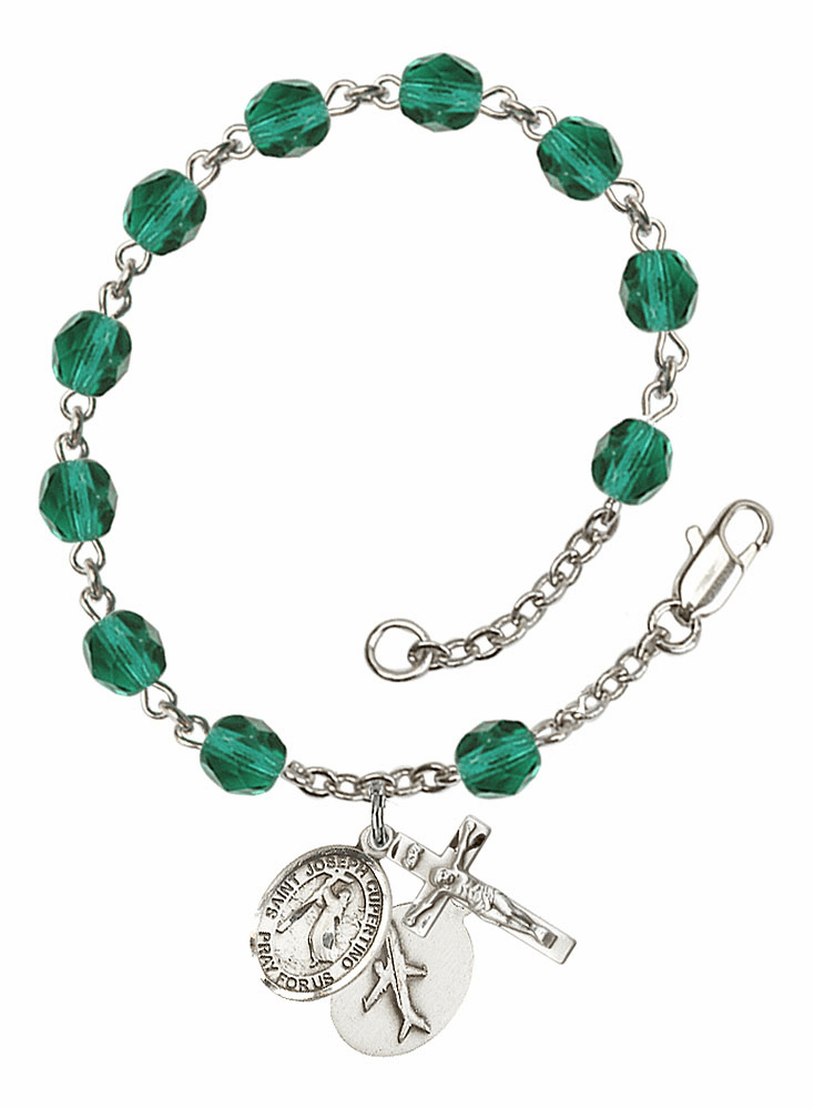 December Zircon St Joseph of Cupertino Airplane Birthstone Rosary Bracelet by Bliss