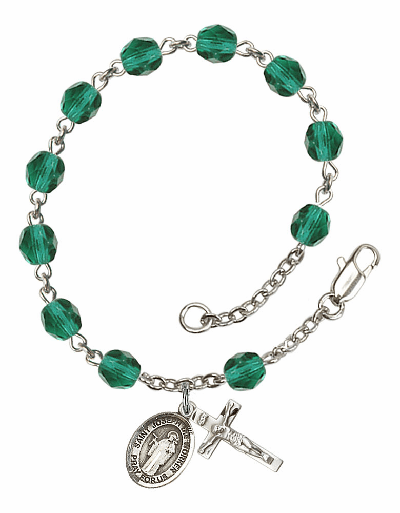 December Zircon St Joseph the Worker Birthstone Rosary Bracelet by Bliss