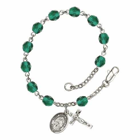 December Zircon St Maria Goretti Birthstone Rosary Bracelet by Bliss