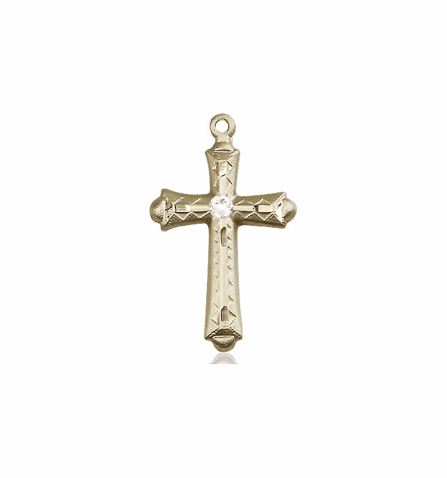 Detailed Flared Cross 14kt Gold Apr-Crystal Birthstone Pendant Necklace by Bliss