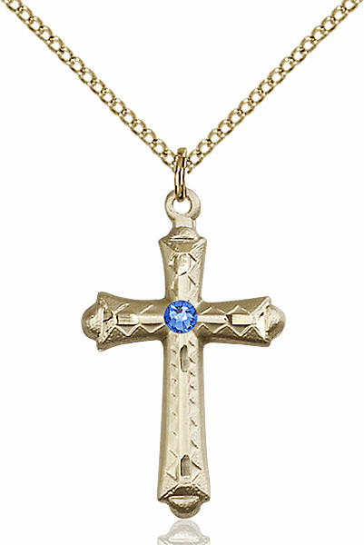 Detailed Flared Cross Gold-filled Sept-Sapphire Birthstone Pendant Necklace by Bliss