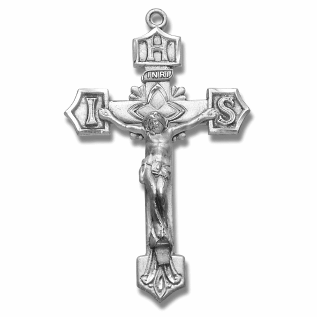 Detailed IHS Sterling Silver Crucifix Rosary Part by HMH Religious