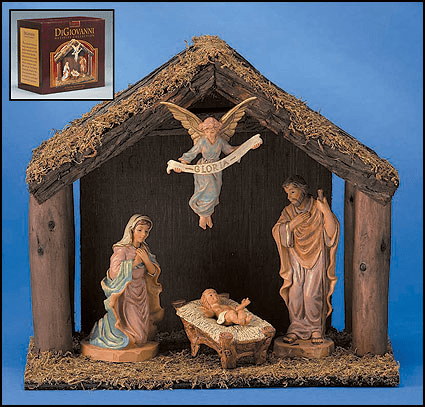 DiGiovanni 4-Pc Nativity Set with Wood Stable