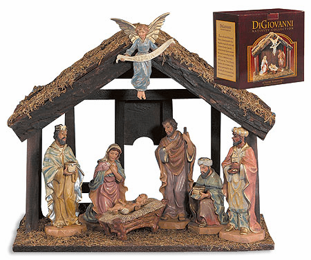 DiGiovanni 7-Pc Christmas Nativity Set with Wood Stable