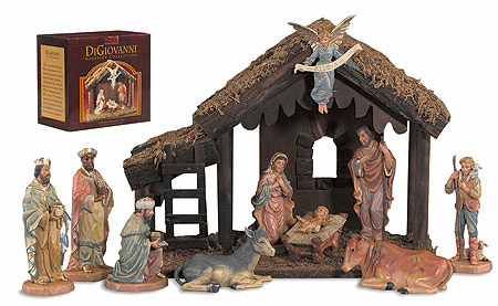 DiGiovanni Christmas Nativity Set with Wood Stable