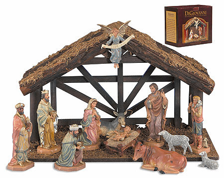 DiGiovanni Religious 12-Pc Christmas Nativity Set with Wood Stable