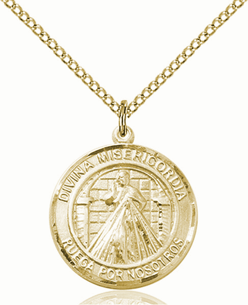 Divina Misericordia/Divine Mercy of Jesus Spanish Patron Saint 14kt Gold-filled Medal by Bliss