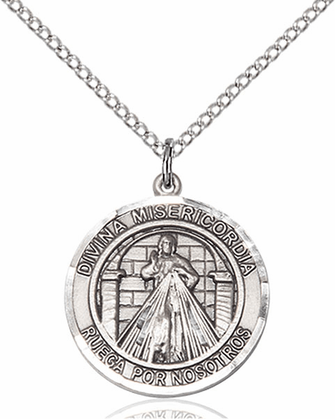 Divina Misericordia/Divine Mercy of Jesus Spanish Pewter Medal Necklace by Bliss Manufacturing