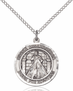 Divina Misericordia/Divine Mercy of Jesus Spanish Silver-filled Medal Necklace by Bliss Manufacturing