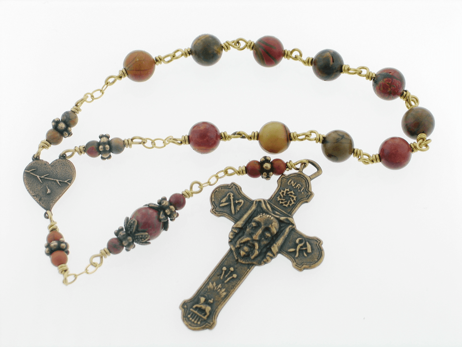 Divine Face of Jesus Veronica's Veil Bronze Wire Wrapped Pocket Rosary by Heavenly Divine