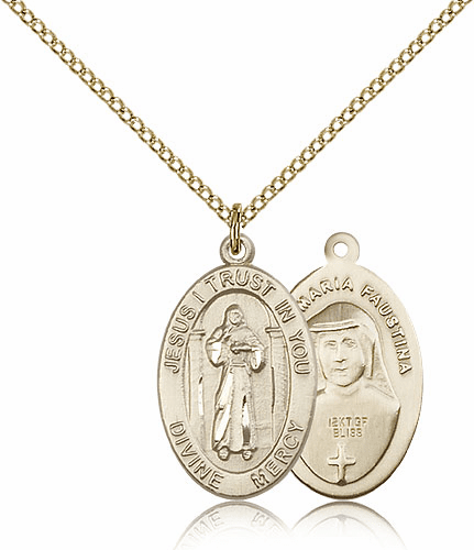 Divine Mercy Gold-filled Patron Saint Catholic Medal Necklace by Bliss