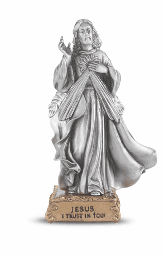 Divine Mercy Jesus Pewter Statue on Gold Tone Base by Hirten