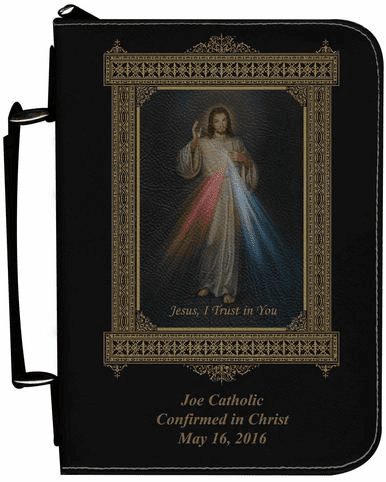 Divine Mercy Personalized Black Catholic Bible Cover Case