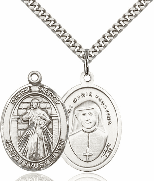 Bliss Divine Mercy & St Maria Faustina Kowalska Pewter Patron Saint Necklace