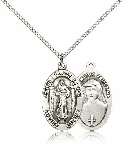 Divine Mercy Silver-filled Patron Saint Catholic Medal Necklace by Bliss