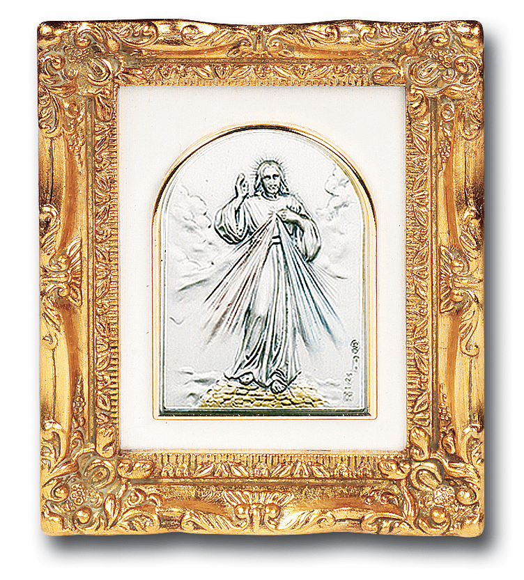 Divine Mercy Silver Image w/Antique Gold Leaf Frame Picture by Salerni