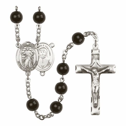 Divine Mercy Silver Plate 7mm Black Onyx  Prayer Rosary by Bliss