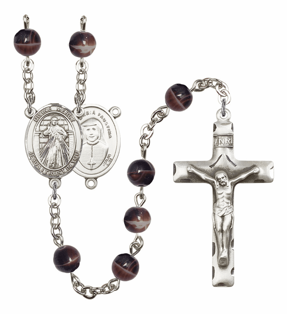 Divine Mercy Silver Plate 7mm Brown Gemstone Prayer Rosary by Bliss