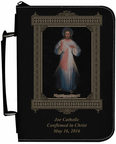 Divine Mercy Vilnius Original Personalized Black Catholic Bible Cover Case