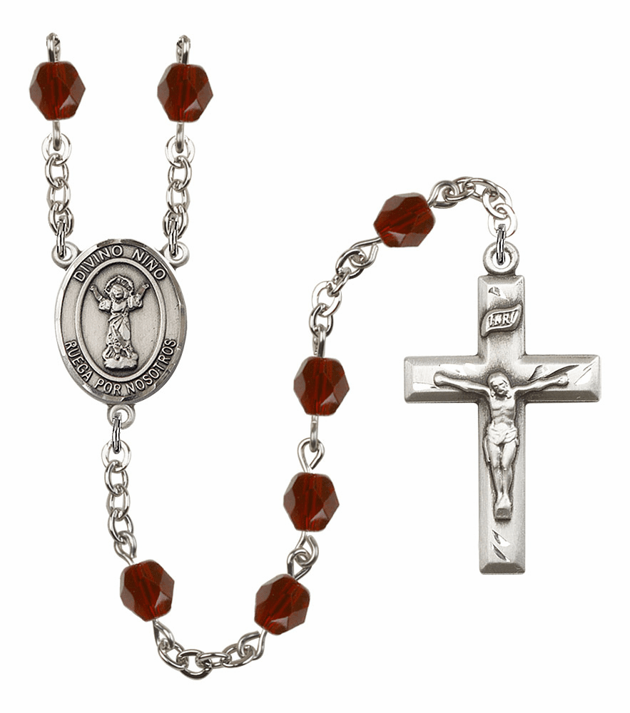 Divino Nino Birthstone Crystal Prayer Rosary by Bliss - More Colors