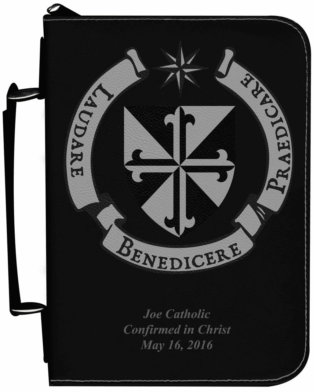 Dominican Shield Personalized Black Catholic Bible Cover Case