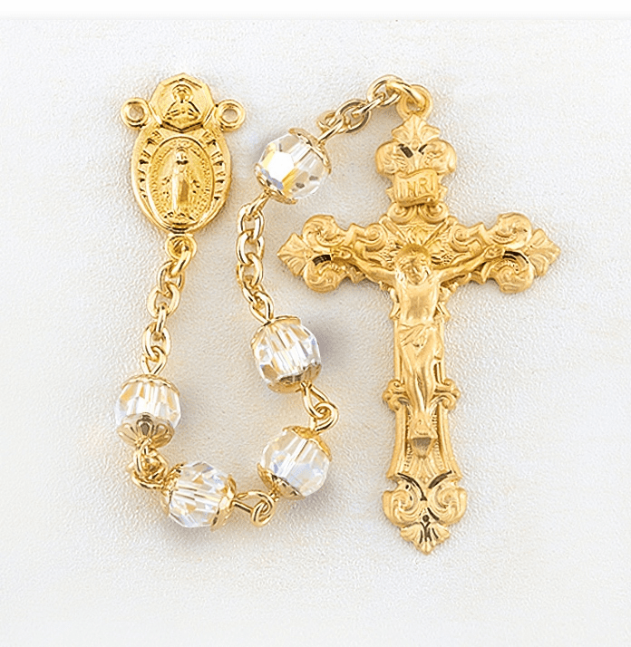 Double Capped Swarovski Crystal Gold over Sterling Silver Rosary by HMH Religious