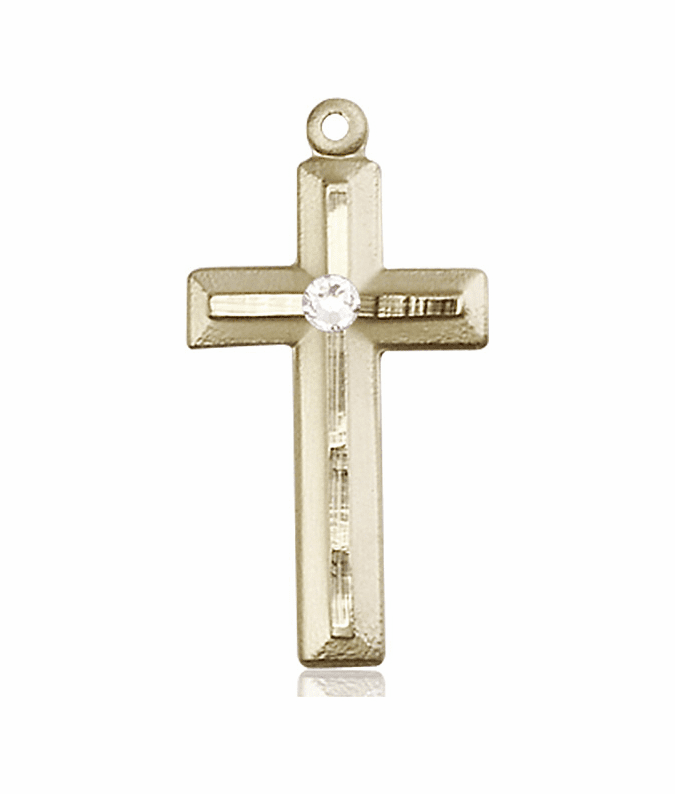 Double Etched Cross 14kt Gold Apr-Crystal Birthstone Pendant Necklace by Bliss