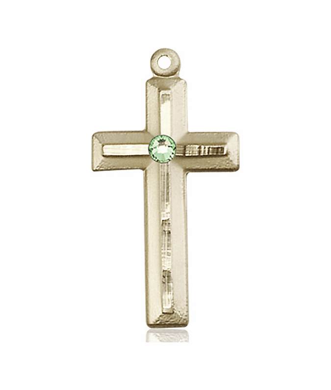 Double Etched Cross 14kt Gold Aug-Peridot Birthstone Pendant Necklace by Bliss