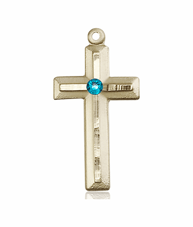 Double Etched Cross 14kt Gold Dec-Zircon Birthstone Pendant Necklace by Bliss