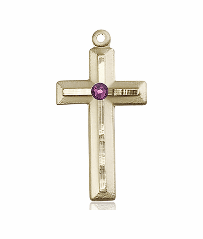 Double Etched Cross 14kt Gold Feb-Amethyst Birthstone Pendant Necklace by Bliss