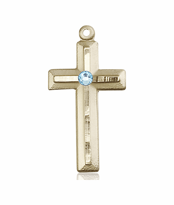 Double Etched Cross 14kt Gold Mar-Aqua Birthstone Pendant Necklace by Bliss