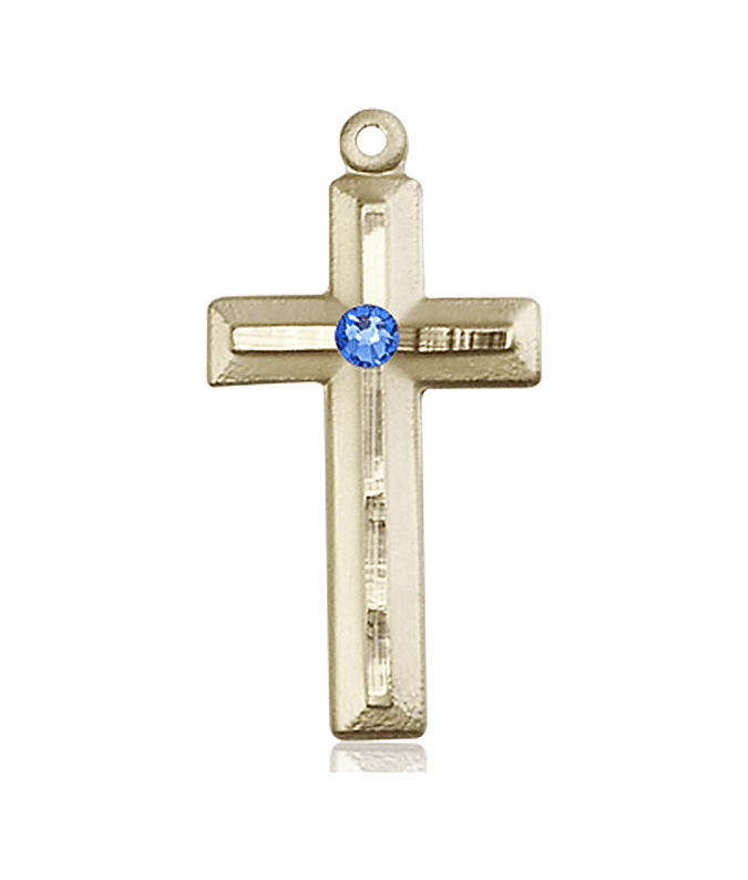 Double Etched Cross 14kt Gold Sept-Sapphire Birthstone Pendant Necklace by Bliss