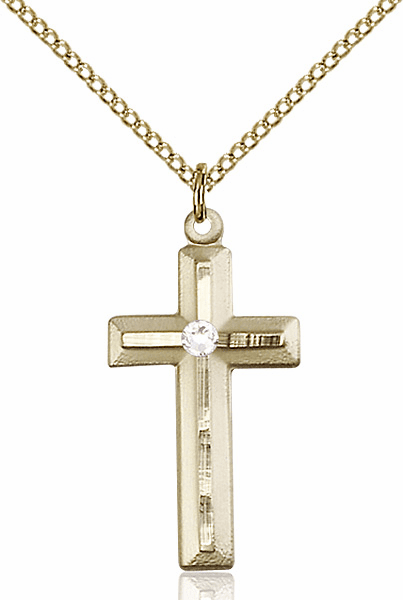 Double Etched Cross Gold-filled Apr-Crystal Birthstone Pendant Necklace by Bliss