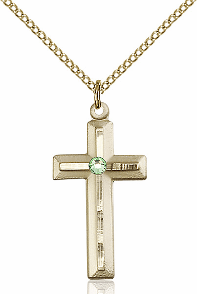 Double Etched Cross Gold-filled Aug-Peridot Birthstone Pendant Necklace by Bliss