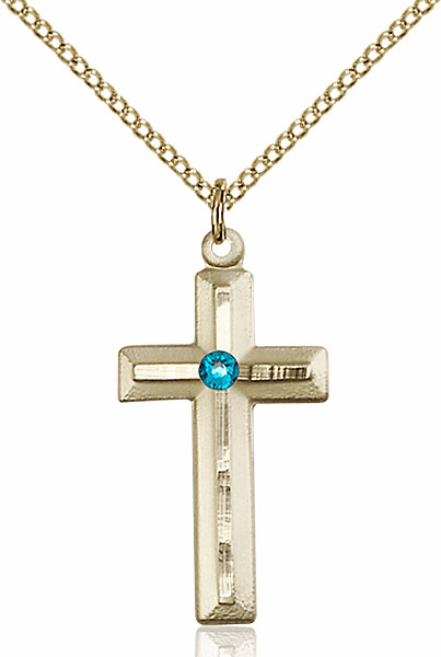 Double Etched Cross Gold-filled Dec-Zircon Birthstone Pendant Necklace by Bliss