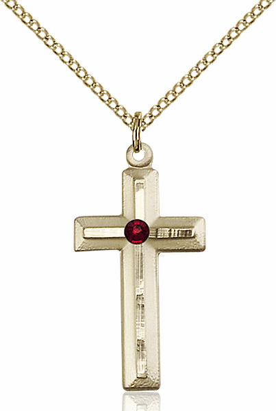 Double Etched Cross Gold-filled Jan-Garnet Birthstone Pendant Necklace by Bliss