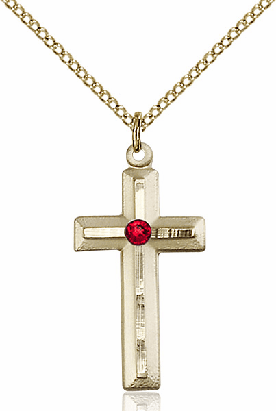 Double Etched Cross Gold-filled Jul-Ruby Birthstone Pendant Necklace by Bliss